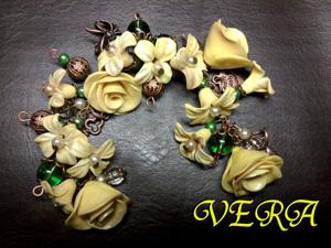 Браслет «Yellow rose», Браслеты из полимерной глины, авторские украшения ручной работы