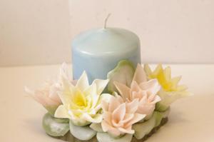 Свечи ручной работы. Лотос, Декоративные свечи ручной работы, изготовление подсвечников