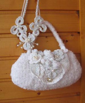 Белая сумочка вязаная сумочка и колье, Свадебные аксессуары ручной работы